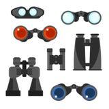 Binocular vector set. Zoom tool equipment military illustration. Royalty Free Stock Image