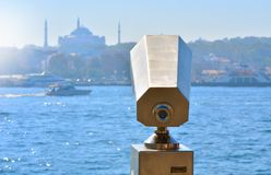 Binocular view Istanbul. Binocular view of the waterfront Istanbul Royalty Free Stock Image