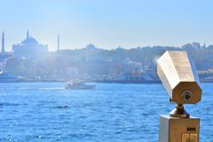 Binocular landscape view. Binocular view of the Strait of Bosporus in Istanbul Stock Image