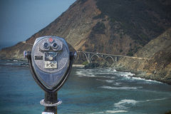 Binocular viewer at OF DISTANT VIEW OF BIG CREEK BRIDGE ON BIG SUR COASTLINE, CALIFORNIA, USA Royalty Free Stock Image