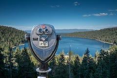 Binocular viewer of Emerald Island on Lake Tahoe Royalty Free Stock Photo