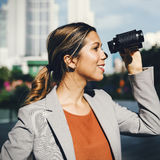 Binocular Vision Observe Solution Finding Concept Stock Photos