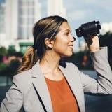 Binocular Vision Observe Solution Finding Concept. Woman Vision Binocular Observation Concept Stock Photos