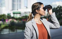 Binocular Vision Observe Solution Finding Concept. Woman Vision Binocular Observation Concept Stock Image