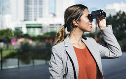 Binocular Vision Observe Solution Finding Concept Stock Image