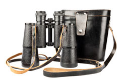 Binoculare con il caso Fotografia Stock