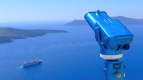 Binoculare per l'osservazione della caldera di Santorini Immagine Stock