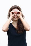 Binoculars. Girl made binoculars by hand Royalty Free Stock Photo