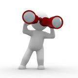 Binoculars. 3d human looking with red binoculars Stock Photography