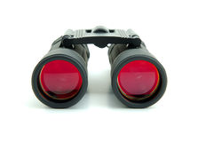 Binoculars. With red lenses on white background Stock Photography