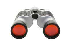 Binoculars. With red lens isolated against white Stock Photos