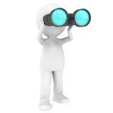 Binoculars. 3D Little Human Character holding a pair of Binoculars Royalty Free Stock Image