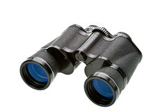 Binoculars. Binoculars with blue lens isolated on white Stock Image
