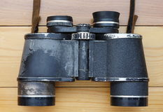 Binoculars. Old worn pair of binoculars Army Stock Photo