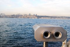 Binoculars. A pair of binoculars and the istanbul.Looking to Istanbul Royalty Free Stock Photography