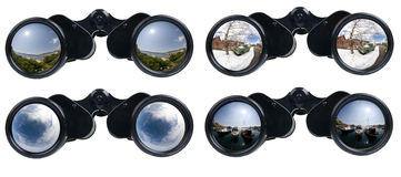 Binoculars. Four binoculars different views ideal for travel concept Stock Photo