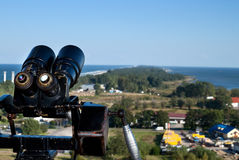 Binoculars and the aerial view Royalty Free Stock Photography