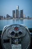 Binoculars along the detroit river. City view in rental binocular stock photography