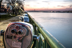 Binoculars along the detroit river Stock Photo