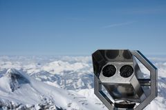 Binoculars for alps observation Royalty Free Stock Photography