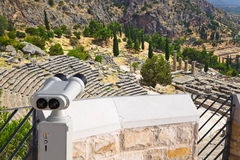 Binoculars and ancient city Delphi, Greece Royalty Free Stock Photography