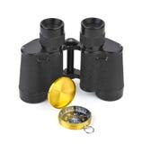 Binoculars And Compass Royalty Free Stock Image