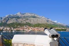 Binoculars And Makarska At Croatia Stock Image