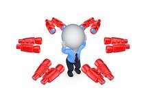 Binoculars around worried 3d small person. Royalty Free Stock Photography