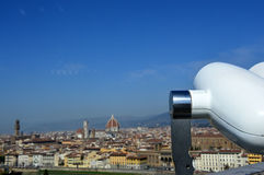 Binoculars with beautiful view of Florence city, Tuscany, Italy Stock Images