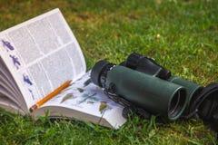 Binoculars and Bird Guide. Birdwatching stock photo