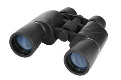 Binoculars in black plastic stock images