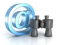Binoculars with blue at e-mail symbol. internet search concept Royalty Free Stock Photo