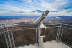 Binoculars on Bukulja mountain. Overlooking Arandjelovac town in Serbia Stock Photo