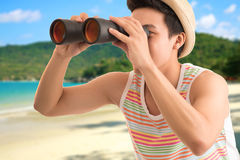 With binoculars Royalty Free Stock Image