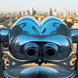Binoculars coin-operated. View of Milan from the roof of the Duomo. Binoculars coin-operated, view from the roof of the Cathedral Stock Photo