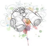 Binoculars & color paint background Stock Illustration
