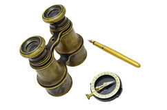 Binoculars, compass and pen Stock Images