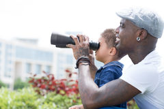 With binoculars Royalty Free Stock Images
