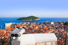 Binoculars and Dubrovnik in Croatia Stock Images