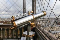 Binoculars. On the Eiffel tower you have a view of the sity whit binoculars i Paris Stock Photography