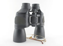 Binoculars and eyeglasses Royalty Free Stock Image
