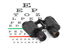 Binoculars on eyesight test chart Royalty Free Stock Photography
