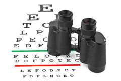 Binoculars on eyesight test chart Stock Photo