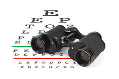 Binoculars on eyesight test chart Royalty Free Stock Photo