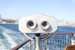 Binoculars on the ferry boat in Istanbul Stock Images