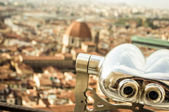 Binoculars and Firenze Royalty Free Stock Photography