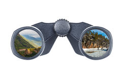 Binoculars in glasses which reflect. The mountains and frozen sea Stock Photo