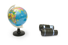 Binoculars and Globe. Isolated on white background Stock Image