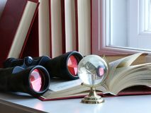 Binoculars and Globe. Open book, binoculars and Globe Stock Photos
