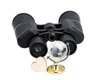 Binoculars with the globe Stock Images